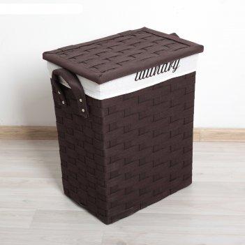 Корзина для белья плетение 50х43х34 см, коричневая