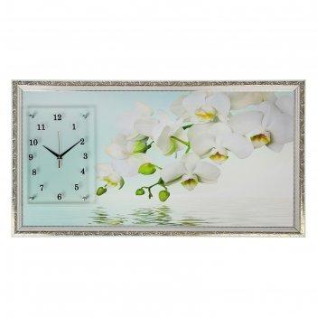 Часы-картина настенные, серия: цветы, водная гладь и белые орхидеи, 50х100