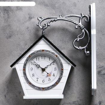 Часы настенные двойные, серия: садовые, домик, 32х40 см