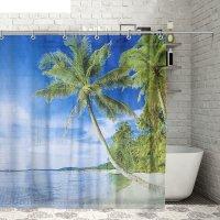 Штора для ванной 180х180 см пляж, полиэстер