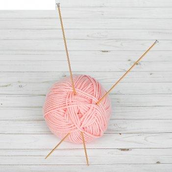 Спицы для вязания, прямые, с пластиковым наконечником, d=2,5мм, 35см, 2шт,