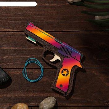 Сувенир деревянный «резинкострел, красная звезда» + 4 резинки