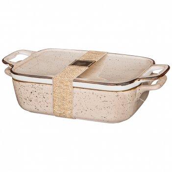 Блюдо для запекания с крышкой bronco nature 24*14*6 см 600 мл кремовое (ко