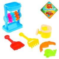 Песочный набор 6 предметов: мельница, лейка, лопатка, грабли, 2 формочки