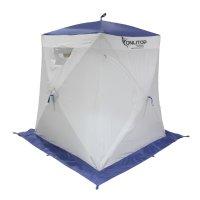 Палатка призма 150 (3-сл) стежка 210/100 люкс алюминий, бело-синяя