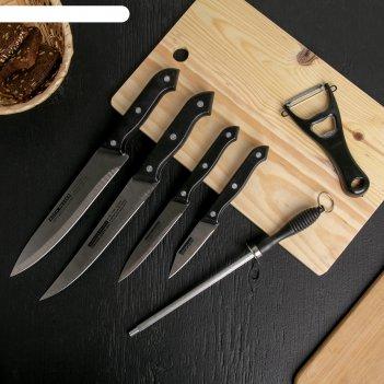 Набор 6 предметов: 4 ножа:19/22/31/32 см, мусат 27 см, овощечистка-открыва