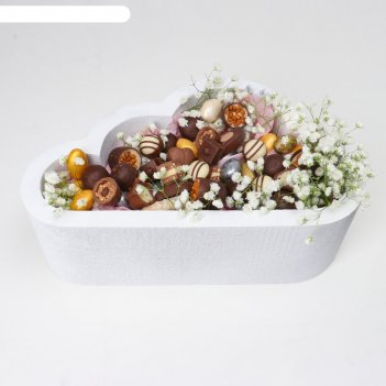 Пенобокс 30x19x10 см кашпо для цветов и подарков облако, белое