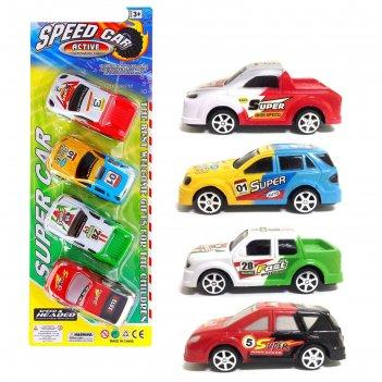Машины инерционная гонка, набор 4 шт.