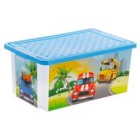 Ящик для игрушек city cars с крышкой 12 л, цвет голубой