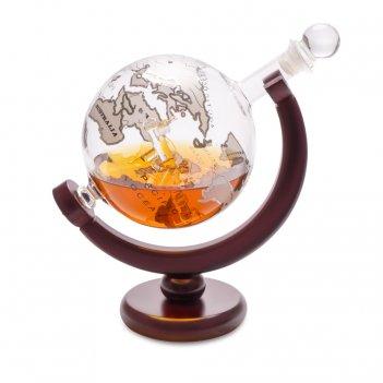 Декантер для виски с деревянной подставкой globe 0.8л