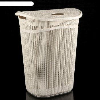 Корзина для белья 55 л вязание, цвет белый ротанг