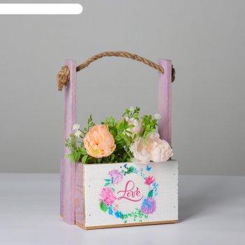 Кашпо деревянное, 15x12x8.5(25) см пауль. love в цветочках, с принтом