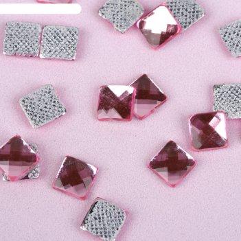 Стразы термоклеевые квадрат, 100шт, 6 х 6мм, цвет розовый