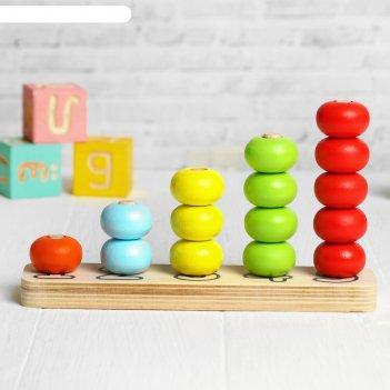 Пирамидка счёты, 5 цветов, 15 деталей, шарик d= 3 см