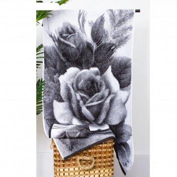 Полотенце махровое этель чб розы 70*130 см, 100% хл, 420 гр/м2