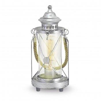 Настольная лампа bradford 1x60вт e27 серебро 14x14x33см