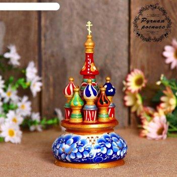 Сувенир-шкатулка музыкальная храм, 17х10 см, гжель