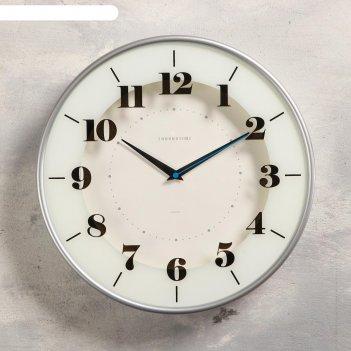 Часы настенные классика, плавный ход,  печать по стеклу, d=30.5 см