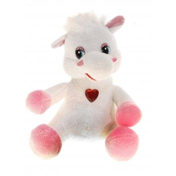 Мягкая игрушка белая лошадь на груди кулон сердце
