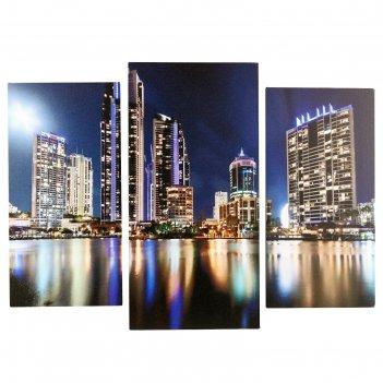Модульная картина ночной мегаполис (2-25х50, 30х60 см) 60х80 см