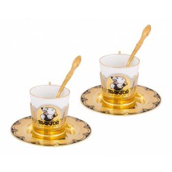 Набор кофейный трактор (2 тарели d110, 2 чашки, 2 ложки)