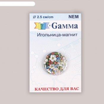 Игольница магнитная «цветы на канве», d = 2,5 см, цвет разноцветный