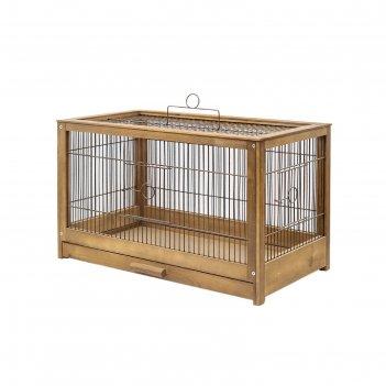 Клетка для птиц из массива летняя веранда-4, укомплектованная, 56 х 30 х 3