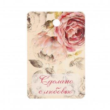 Бирка картон розы ретро двусторонняя 4х6 см