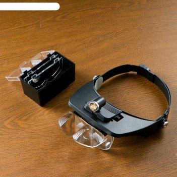 Лупа сувенирная налобная бинокулярная с подсветкой, цвет черный
