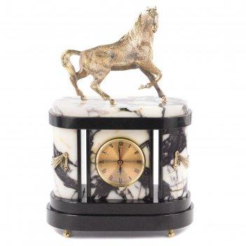 Часы конь мрамор долерит бронза 210x120x320 мм 7000 гр.