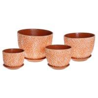 Набор кашпо спрей цветная глазурь (4 шт.), цвет: оранжевый, 4л, 3л, 2л, 1л