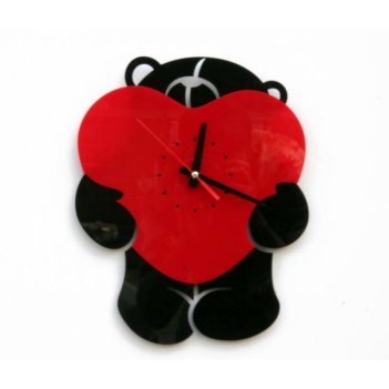 Часы сердце cl196 28х35см мишка