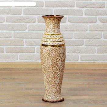 Ваза керамика напольная версаль 60 см цветы коричневая