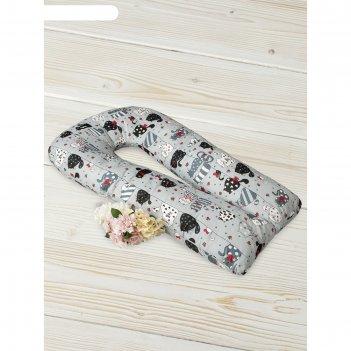 Подушка для беременных  u-образная, размер 35 x 340 см, принт котики, цвет