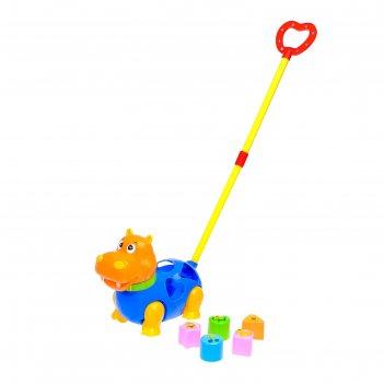 Каталка-сортер бегемотик на палочке, цвета микс