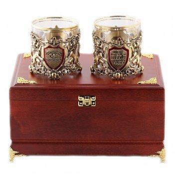 Бокалы для виски  настоящий мужчина + юбилей 75 лет  в деревянной шкатулке