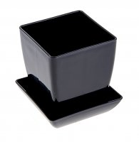 Горшок для цветов перламутр 110x110 мм, поддон, черный