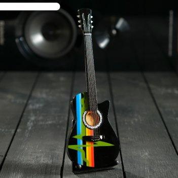 Гитара сувенирная gibson acustic черная, на подставке 24х8х2 см