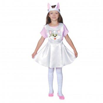 Карнавальный костюм кошечка, белый атлас, сарафан, головной убор, р-р 28,