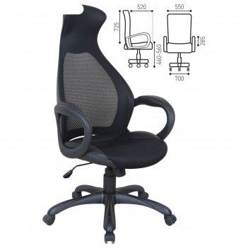 Кресло офисное brabix genesis ex-517, чёрный пластик, ткань, экокожа, сетк