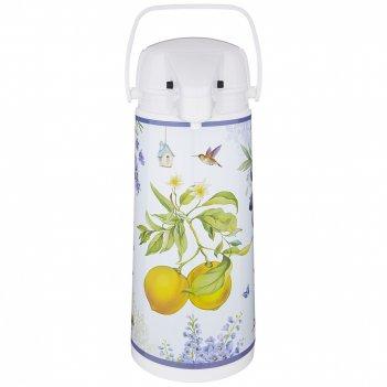 Термос agness прованс лимоны со стеклянной колбой и помпой 1.9 л