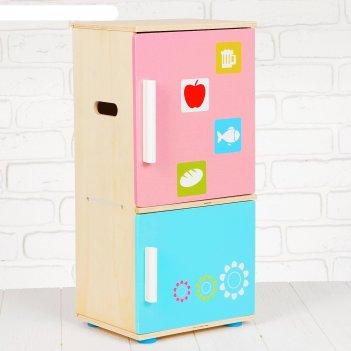 Игровой набор холодильник, деревянные продукты в наборе