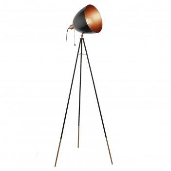 Торшер сhester на треноге, 1x60w (e27) h1355, сталь, черный, медный, шнур.