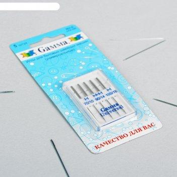 Иглы для бытовых швейных машин № 70-100, 5шт, универсальные