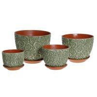 Набор кашпо спрей цветная глазурь (4 шт.), цвет: зеленый, 4л, 3л, 2л, 1л.