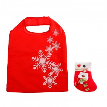 Сумка хозяйственная снежинки, складная, 1 отдел, цвет красный