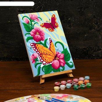 Картина по номерам на холсте с подрамником «весенние бабочки» 20x30 см