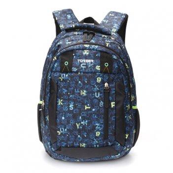 Рюкзак torber class x, темно-синий с рисунком буквы, полиэстер, 45 x 32 x