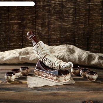Штоф с рюмками кинжал шамот, 8 предметов, 0,375 л