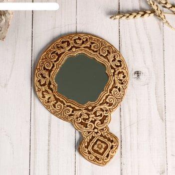 Зеркало «тисненое»,с ручкой, береста